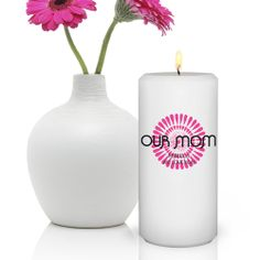 "Personalized Bouncy Bouquet Candle for Mom. Put an extra bounce in mom's step with our Personalized Bouncy Bouquet Gift Candle. Perfect for any decor, this 3"" x 6"" round gift candle shows your love and appreciation for that special woman who has touched your life. With nine playful designs, you can match to her personality and express your sentiment. Select design color and personalize with three lines of up to 12 characters per line."