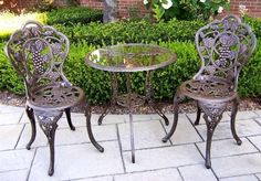 Oakland Living® Vineyard™ 3-Pc. Bistro Set by OAKLAND LIVING. $325.22. Finish: Antique Bronze. High-grade polyester powder coat finish. Set includes 1 table and 2 chairs. Brass and stainless steel assembly hardware ensure sturdiness, durability and security for years. Long lasting, beautiful finish maintain appearance for years to come. Oakland Living Vineyard 3-Pc. Bistro Set. Perfect for an intimate bistro corner on your patio, deck, garden or yard! This Set just seems to in...