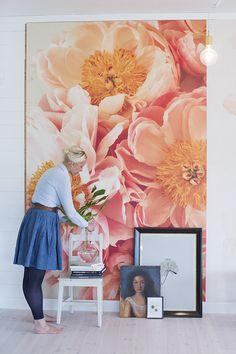 Stor tavla med blommor