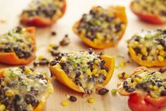 Stuffed Peppers with Corn, Black Beans, and Pepper Jack Venture south of the border for dinner with these stuffed peppers. Get the recipe from Delish. Healthy Mexican Recipes, Vegetable Recipes, Vegetarian Recipes, Cooking Recipes, Asian Recipes, Sweet Corn Recipes, Easy Dinner Recipes, Recipes With Corn, Cheap Easy Meals