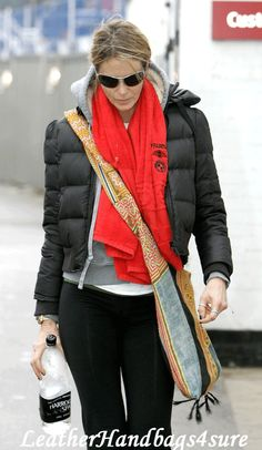 elle macpherson style - Red scarf with Black and Grey