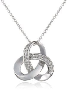 """Amazon.com: Sterling Silver Diamond Knot Pendant Necklace (0.025 cttw, I-J Color, I3), 18"""": Jewelry"""
