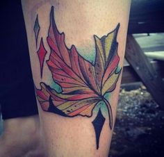 Autumn leaf tattoo for my Dad who always played in the leaves with me when I was a kid. Done by Justin Gills of Blackbird in Nashville, TN.   amhaileisorai.tumblr.com