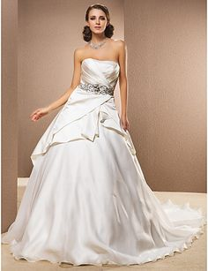 Ball Gown Strapless Natural Cathedral Train Sleeveless Zipper Satin Classic Timeless Church Wedding Dress #169780(More color option)