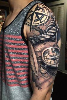 Half Sleeve Tattoos For Guys, Cool Arm Tattoos, Best Sleeve Tattoos, Tattoo Sleeve Designs, Tattoo Designs Men, Leg Tattoos, Nautical Tattoo Sleeve, Tattoo Tribal, Wolf Tattoo Sleeve