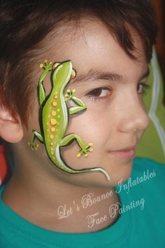 Gecko Boy's Face Painting by Let's Bounce Inflatables, Vancouver BC Face Painting For Boys, Face Painting Designs, Painting Patterns, Paint Designs, Body Painting, Painting Tutorials, Animal Face Paintings, Animal Faces, Bead Lizard