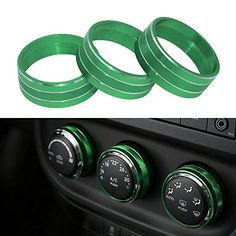 Danti 3pcs Audio Air Conditioning Button Cover Decoration Twist Switch Ring Trim for Jeep Wrangler JK JKU Compass Patriot 2011-2016 (Green)  <br>Perfect Compatibility Audio Button Cover</b> - Compatibility with Jeep Wrangler JK JKU Compass Patriot 2011 2012 2013 2014 2015 2016 2017  <br>Superior Quality Air Conditioning Button Cover</b> - Made of premium aluminum alloy.Enjoy the super cool looking accessories for your jeep wrangler. Designed to fit into most of the jeep wrangler.  <br>...