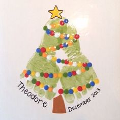 christmas crafts for toddlers Footprint Christmas Tree Painting. Preschool Christmas, Christmas Activities, Christmas Crafts For Kids, Baby Crafts, Toddler Crafts, Holiday Crafts, Christmas Decorations, Christmas Ornaments, Christmas Trees