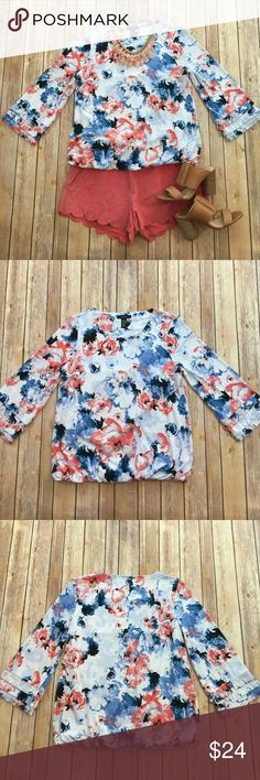 Alfani Floral 3/4 Sleeve Top NWOT! Excellent Condition. Beautiful 3/4 sleeve floral top with fringe accent on the sleeves. This shirt is fully lined which makes it VERY slimming. The fabric has a great stretch to it-- very comfortable! Alfani Tops Blouses