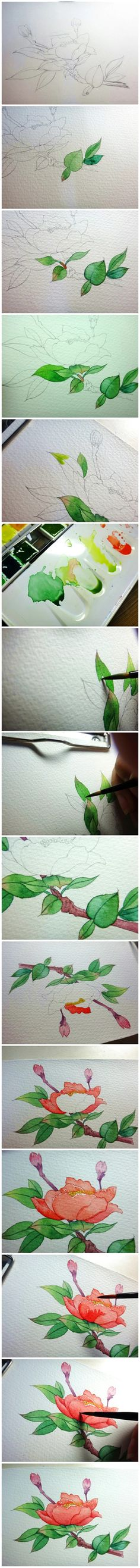 Step by step leaf and flower painting in watercolor.