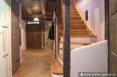 Ateliér Gabryš - Horská chalupa se stodolou Wooden Staircases, Stairs, Home Decor, Atelier, Stairway, Decoration Home, Wooden Stairs, Room Decor, Staircases