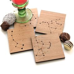 Star Constellations - Set of 4 Wood Coasters