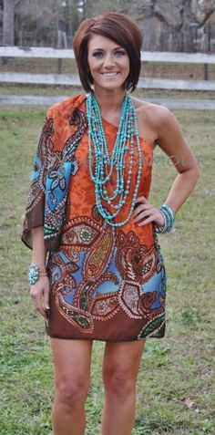 Miss Your Coral Kiss Orange Paisley One Shoulder Dress  $39.95  http://www.giddyupglamouronline.com/catalog.php?item=7059
