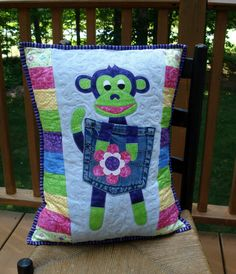 Purple Monkey Appliqued Quilted Pillow on by BackPocketDesign