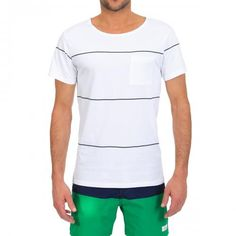 STRIPED COTTON T-SHIRT WITH A CHEST POCKET Collett Line YD striped cotton T-shirt featuring a wide round neck, short sleeves and a chest pocket. COMPOSITION: 100% COTTON. Our model wears size L, he is 189 cm tall and weighs 86 Kg.