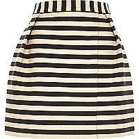 Navy stripe smart woven wrap front mini skirt