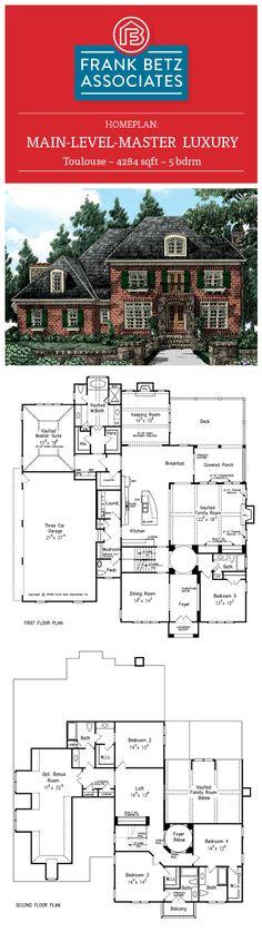 Toulouse: 4284 sqft, 5 bdrm, main-level-master luxury house plan design by Frank Betz Associates Inc.