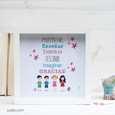 Lámina o lienzo para regalar al profesor o profesora Your Teacher, Teacher Gifts, Happy Teachers Day, Diy Presents, Teachers' Day, Student Gifts, Craft Stick Crafts, Teacher Appreciation, Classroom Decor