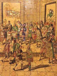 Miguel y Juan gonzalez. Reparto de los regalos a los españoles por parte de Motecuhzoma. Enconchado. Siglo XVII