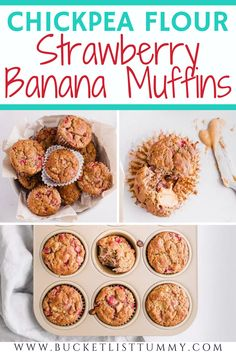 These chickpea flour muffins are made with bananas and strawberries and are a delicious gluten free muffin for kids #toddlermuffins #chickpeaflourmuffins #glutenfreemuffins #muffinsforkids Simple Muffin Recipe, Healthy Muffin Recipes, Healthy Muffins, Healthy Snacks, Easy Breakfast Casserole Recipes, Quiche Recipes, Brunch Recipes, Mini Breakfast Quiche, Strawberry Banana Muffins