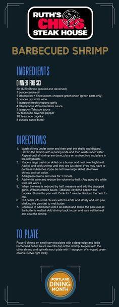 BBQ Shrimp from Ruth& Chris Steakhouse. Shrimp Dishes, Shrimp Recipes, Copycat Recipes, Fish Recipes, Low Carb Recipes, Great Recipes, Cooking Recipes, Favorite Recipes, Healthy Recipes