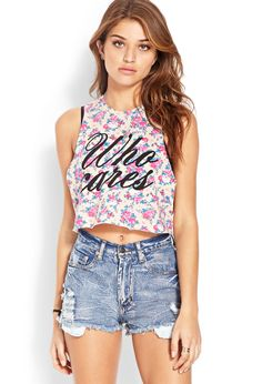 Who Cares Floral Muscle Tee | FOREVER21 #F21FreeSpirit #Floral #GraphicTee