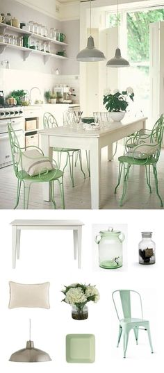 a light dining room with mint green chairs | nousDECOR.com