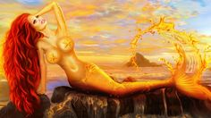 Golden Fish, Magic Hour, Fantasy Landscape, 3 D, Scenery, Clouds, Island, Portrait, Abstract