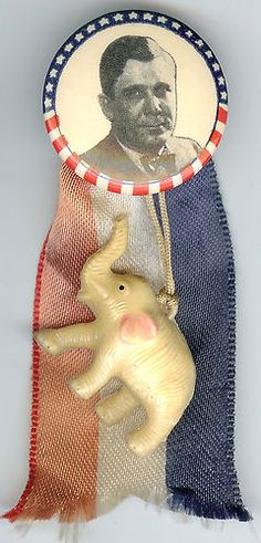 B WILLKIE Photo Pin w/ Patriotic Silk Ribbon & Plastic Elephant Charm