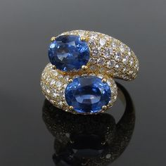 1960's Cartier 7.50ct Natural Untreated Sapphire & Diamond 18K Gold Ring…