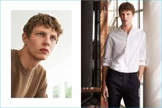 Pictured right, model Tim Schuhmacher wears a cotton button-down shirt and cropped suit pants from H&M.