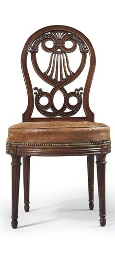 A LATE LOUIS XVI MAHOGANY CHAISE - BY GEORGE JACOB, CIRCA 1785