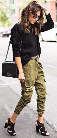 #winter #outfits black long-sleeved top, brown drawstring pants