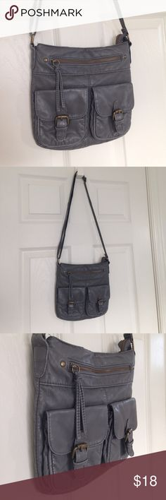 "Grey Cross-body Bag Dark grey cross body bag. Adjustable straps. Zipper as closure. No stains or holes. Measurement: 9"" x 9.5"" Mossimo Supply Co. Bags Crossbody Bags"