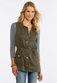 e6851f7b098da Plus Size Cinched Waist Utility Vest Jackets   Vests Cato Fashions Utility  Vest