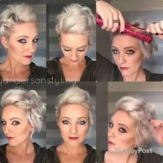 5 Coiffures Hyper faciles Rapides et Pratiques Pour Cheveux Courts! Really Short Hair, Short Hair Cuts, Styling Short Hair Bob, Pretty Hairstyles, Wedding Hairstyles, Short Formal Hairstyles, Hair Images, Great Hair, Hair Today