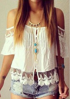 Boho Lace Sleeve Top at Lookbook Store