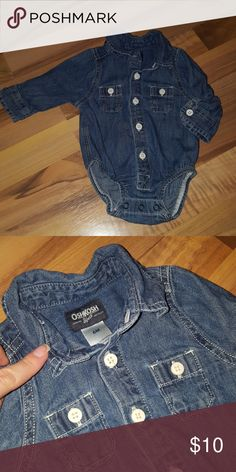 Baby Boys Oshkosh B'Gosh Denim Button-down Onesie Baby Boys Oshkosh B'Gosh Denim Button-down Onesie Washed and worn once. No stains or signs of wear. EUC Osh Kosh One Pieces Bodysuits