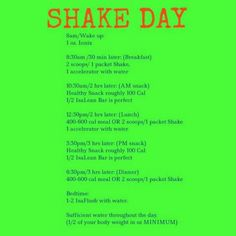 Example Isagenix Shake Day Schedule.