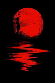 Nicebleed (Francis and Laurence Minoza) illustration - little girl in red sunset Fear And Loathing, Art Rouge, Moon Images, Red Images, Red Pictures, Bing Images, Blood Moon, Blood Art, Beautiful Moon