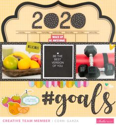 Corri here today sharing a layout featuring two of my goals for the New Year. I've been working hard on eating healthy and working out so I thought it would be fun to make a layout that documents. Eat Fruit, My Goals, Things To Think About, Scrapbook Layouts, Creative, Scrapbooking Layouts, Scrapbook Page Layouts