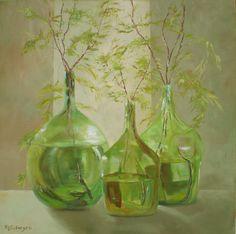 Botellones, oleo sobre tela. Maria Silveyra