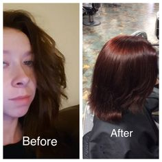 Virgin tint going darker for Alaina using Wella koleston perfect 55/44 and 10 vol developer. Wella brilliance shampoo and conditioner as well as Wella service post treatment. December 5th 2016.