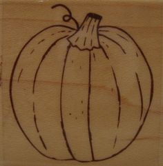 Pumpkin With Curly Q D1147 Wood Mounted Rubber Stamp 2008 Stampabilities #Stampabilities #D1147