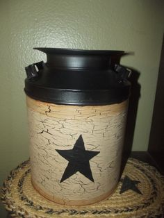 Primitive Crackle Milk Can Tin Canister ~ Black Stars~  Country Decor #NaivePrimitive