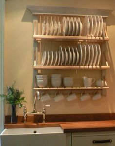 30 Inspiration Kitchen Neat And Good With Dish Rack Wooden