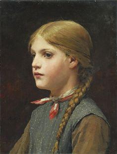 ✨ Albert Anker, Swiss (1831-1910) - MÄDCHENBILDNIS, signiert, Öl auf Leinwand, 40.5 x 31.5 cm ::: PORTRAIT OF A GIRL, signed, oil on canvas /// 845,000 CHF