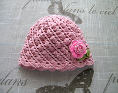 Handmade baby girls HAT, for baby Girl, 3 - 12 Months, crochet hand-knitted light pink hat with bright pink fabric rose flower by ramutez on Etsy
