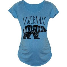 Belly Love Carolina Blue 'Hibernate' Bear Maternity Scoop Neck Tee ($15) ❤ liked on Polyvore featuring maternity