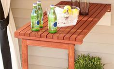 Fold-Down Table Provide extra serving space with this outdoor fold-down table.http://www.lowes.com/ideas-how-tos/woodworking-and-crafts/_/N-2zbkj/npl#!=15=14